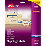 """Avery Clear Full-Sheet Shipping Labels for Inkjet Printers 8-1/2"""" x 11"""", Pack of 25 (8665)"""