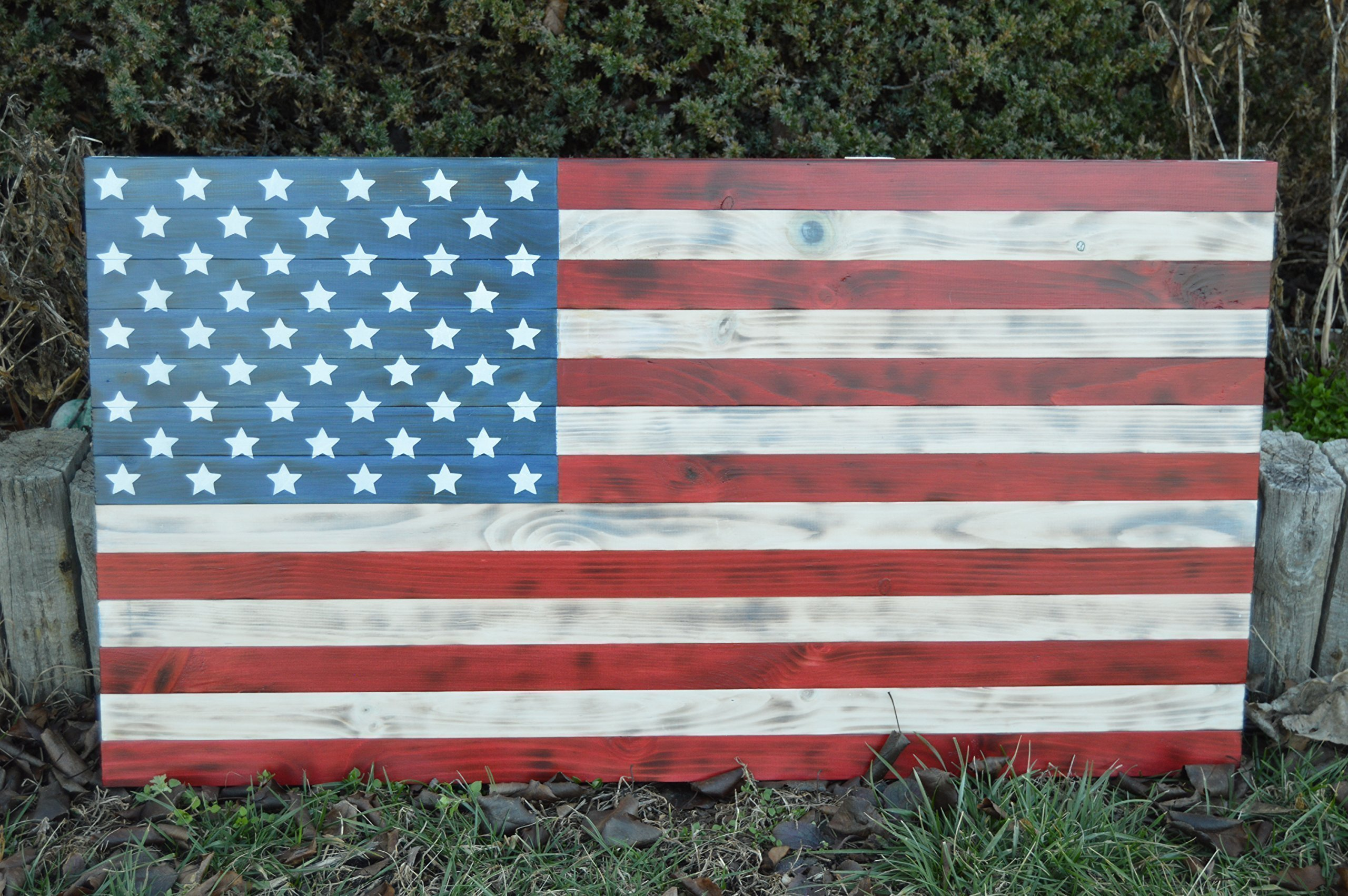 Wooden Flag ,Large 37x19.5 Rustic burned red white and blue burnt american wooden flag,FREE SHIPPING