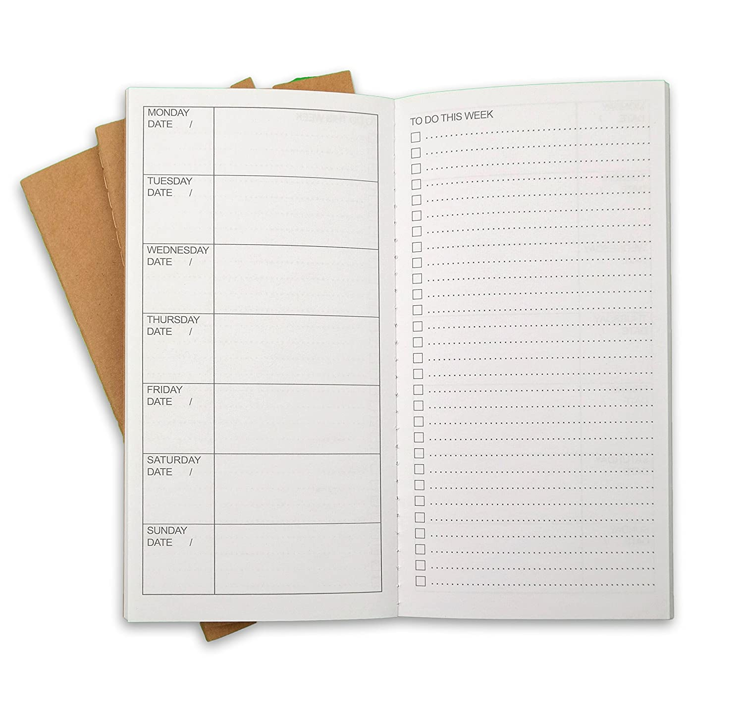 "Weekly To Do List Travelers Notebook Journal Refill Inserts By Ricco Bello | 8.25"" X 4.25"" Acid Free White 