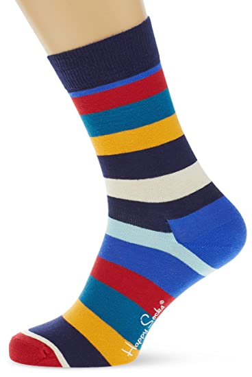Happy Socks Stripe Calcetines con rayas, Unisex adulto, Multicolor (Blau 605),