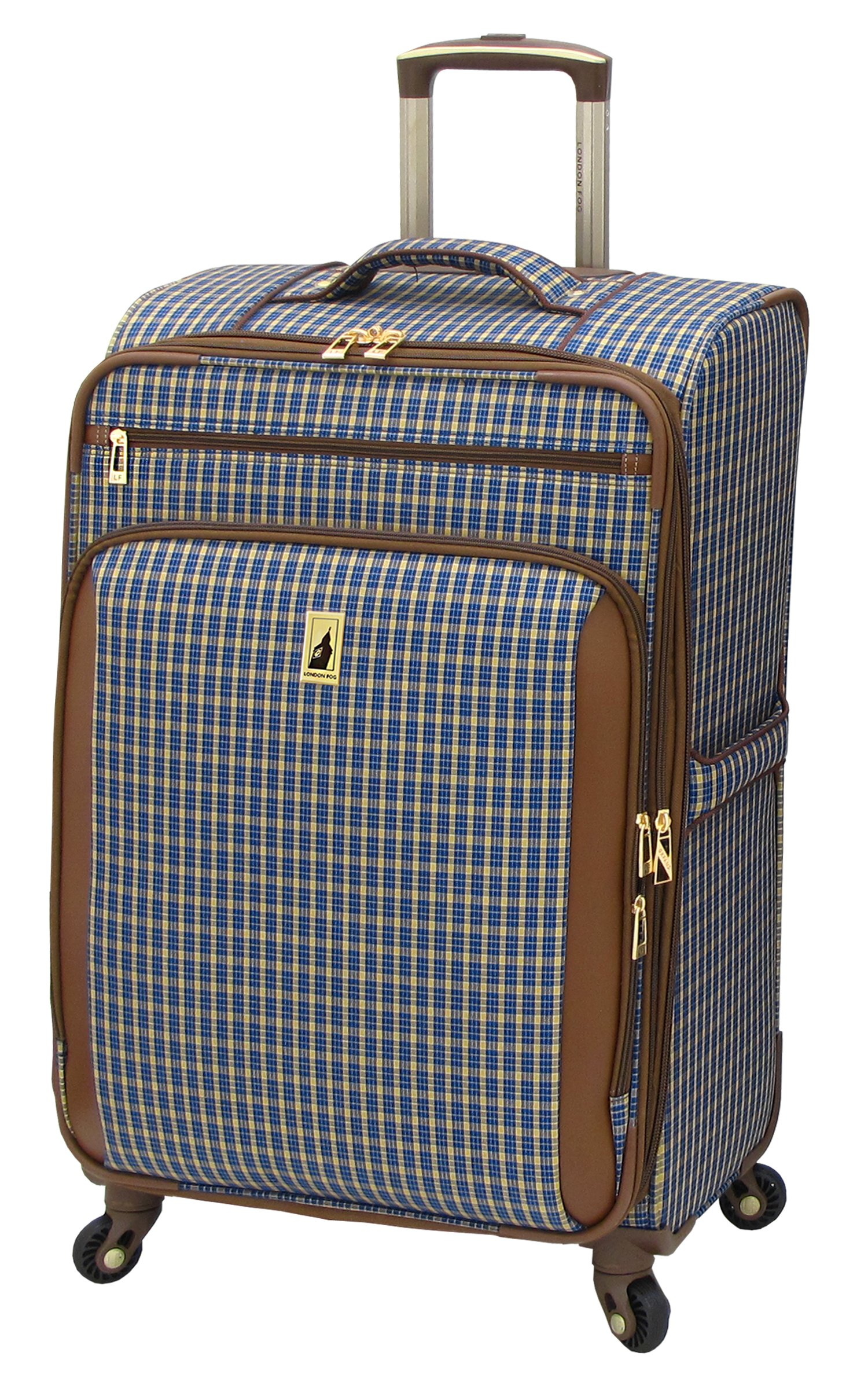 London Fog Kensington 25 Inch Expandable Spinner, Blue Tan Plaid, One Size by London Fog (Image #1)