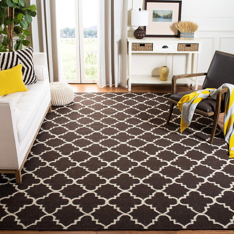 Amazon Com Safavieh Dhurries Collection Dhu554c Handmade Flatweave Premium Wool Area Rug 10 X 14 Brown Ivory Furniture Decor