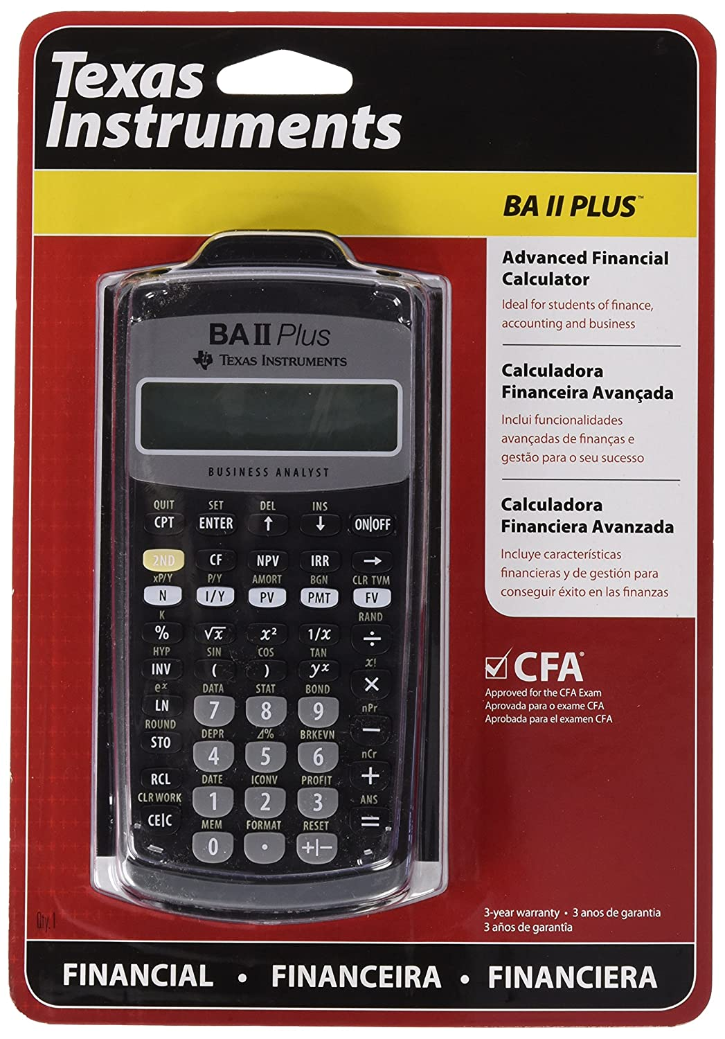 Texas Instruments BAII PLUS IIBAPL/BC/1L1/A BA-II-PLUS