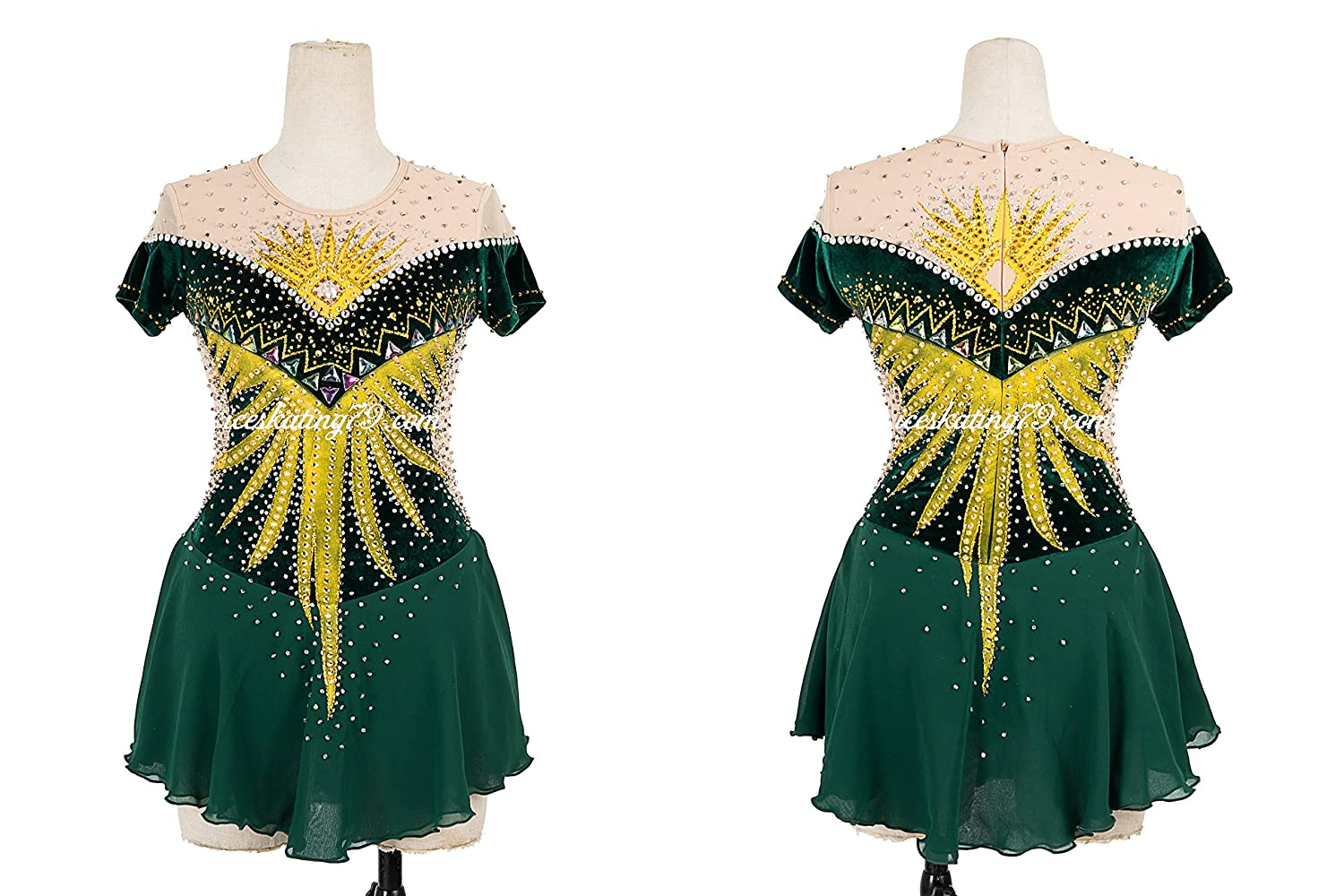 Ice Skating Dress/Girl Custom/Figure Skating Clothe/Twirling/ Leotard/Baton Custom/Women/ Competition/Dark Green/Gold Applique/Royal Design