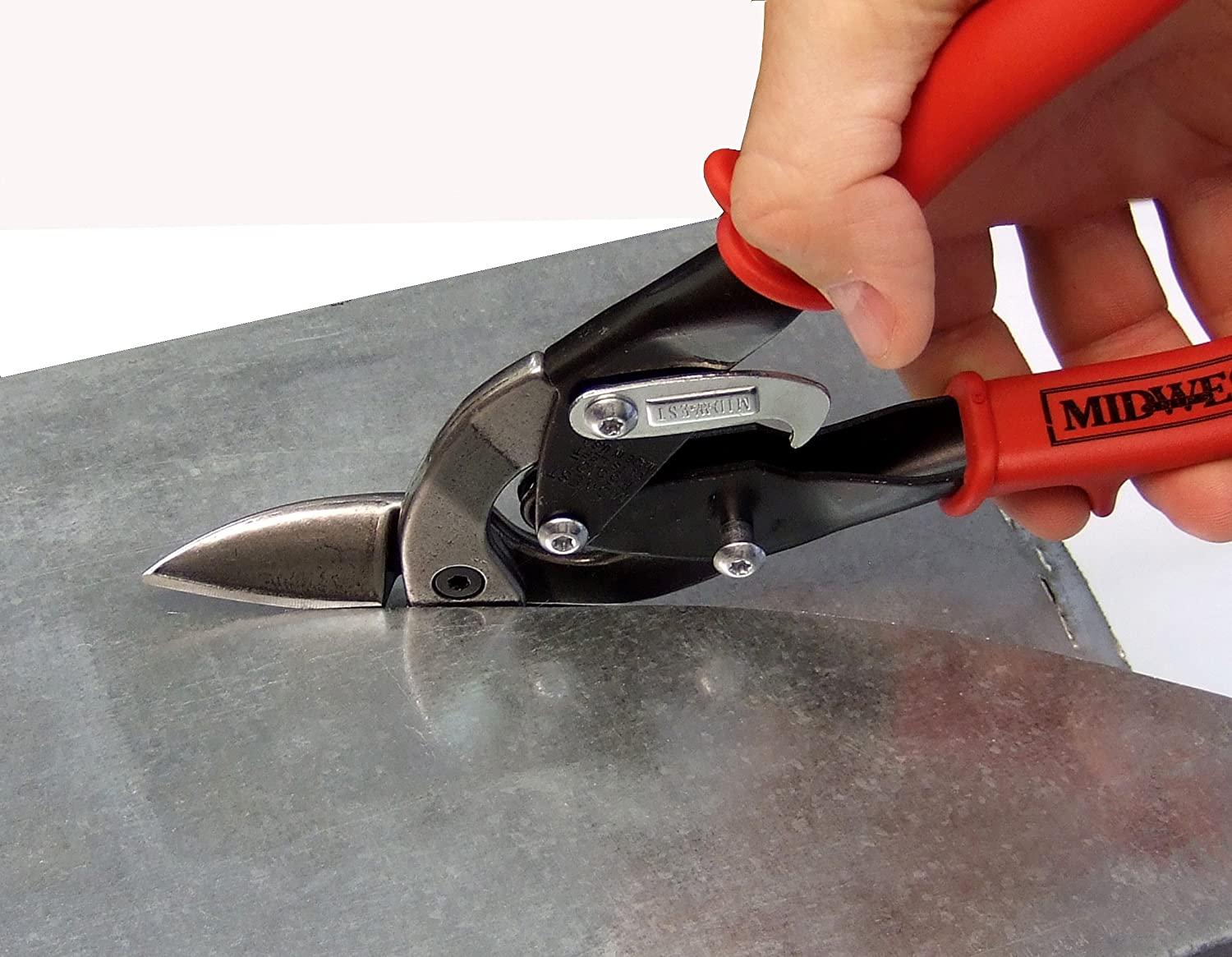 sheet metal cutting tools. midwest aviation snip set - left, right and straight cut offset tin cutting shears with forged blade \u0026 kush\u0027n-power comfort grips mw-p6510rls nippers sheet metal tools