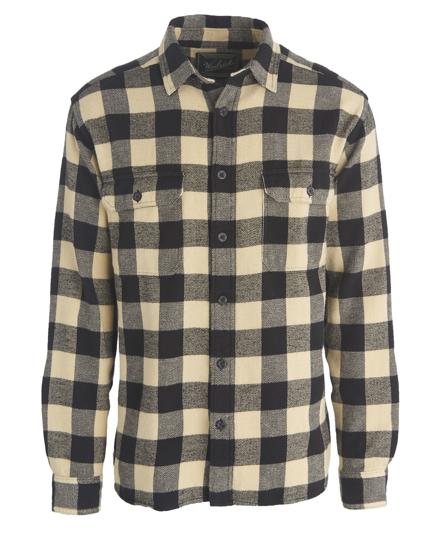Woolrich Men's Oxbow Bend Flannel Shirt, Black Buffalo, Medium