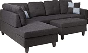 Beverly Fine Furniture Left Facing Linen Russes Sectional Sofa Set With Ottoman, Dark Grey