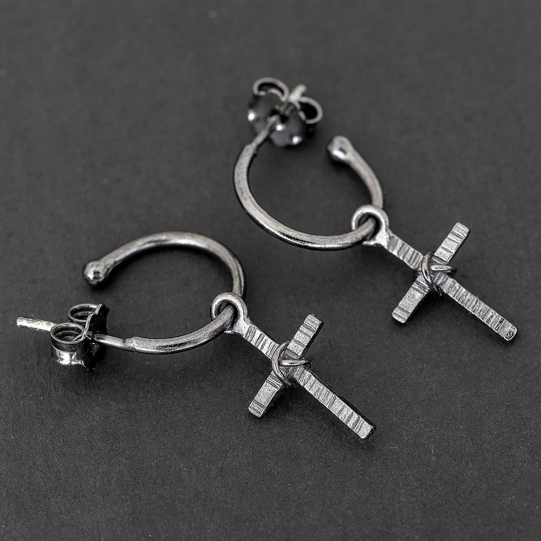 Sterling silver cross earrings boho earrings bohemian cross charm gothic earrings hoop earrings with charm black earrings medieval jewelry