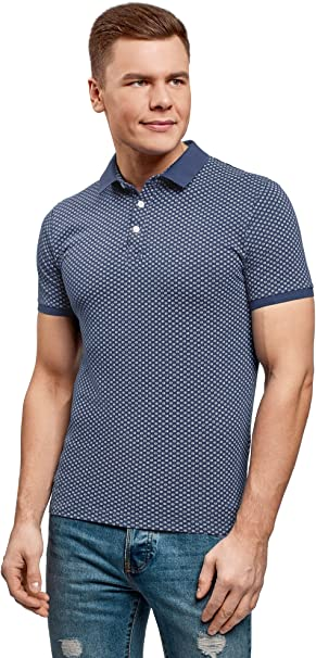 oodji Ultra Mens Fine Graphic Print Cotton Polo Shirt