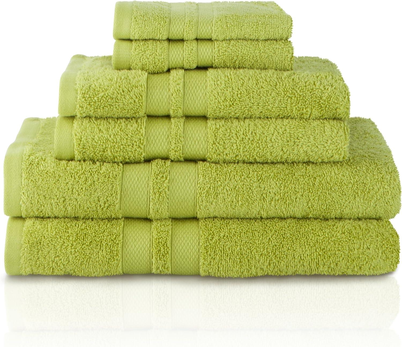 Superior 100 Cotton Bath Towel Set 6 Piece Set 2 Bath Towels 2 Hand Towels And 2 Washcloths Honeycomb Border Celery Home Kitchen