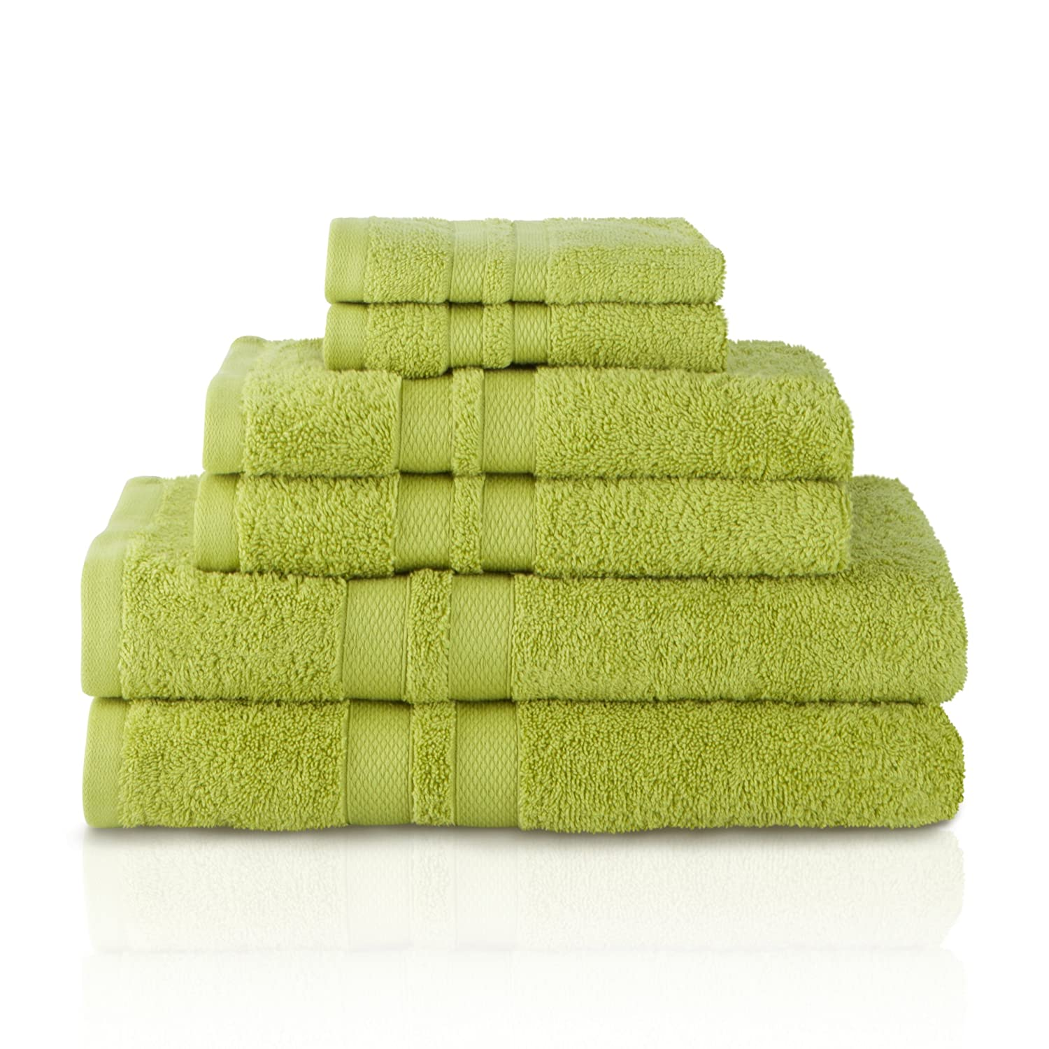 Superior 100% Premium Cotton Ultra Soft 6 Piece Towel Set, 2 Bath Towels, 2 Hand Towels, and 2 Washcloths with Unique Honeycomb Double Border, Celery