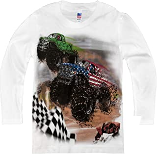 product image for Shirts That Go Little Boys' Long Sleeve USA Monster Trucks Racing T-Shirt