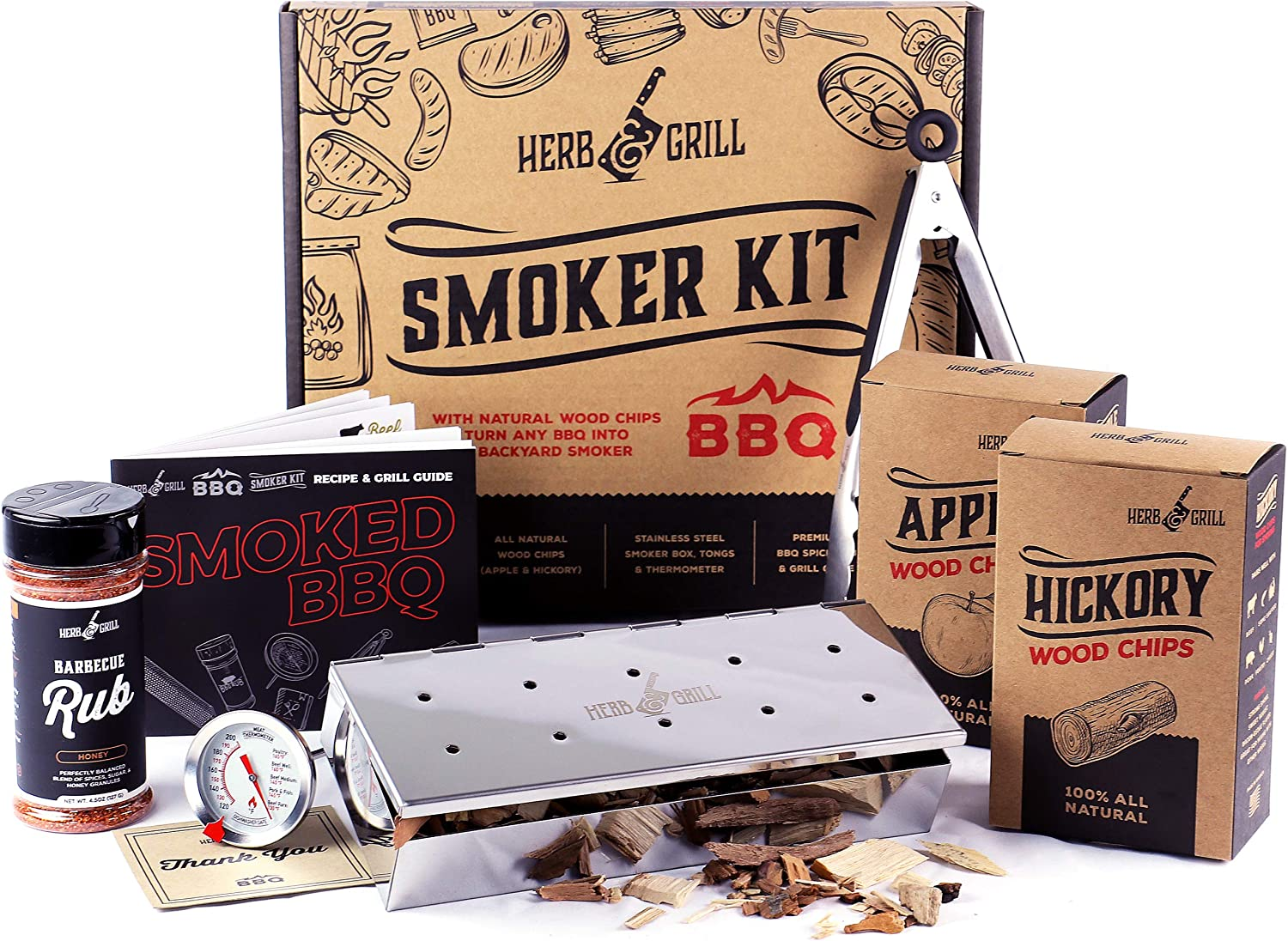 Herb & Grill 7 Piece BBQ Cooking Gift Set for Dad | Smoking Wood Chip Smoker Box with Honey BBQ Rub | Fun & Easy
