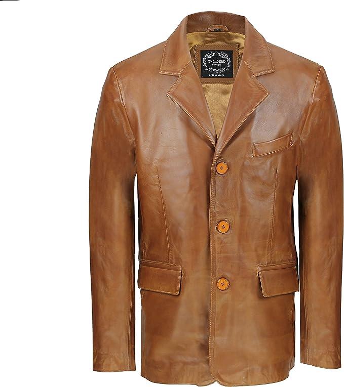 TALLA M. Chaqueta para hombre negra y marrón, de suave piel auténtica de oveja, estilo retro, longitud media