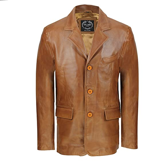 Chaqueta para hombre negra y marrón, de suave piel auténtica de oveja, estilo retro, longitud media: Amazon.es: Ropa y accesorios