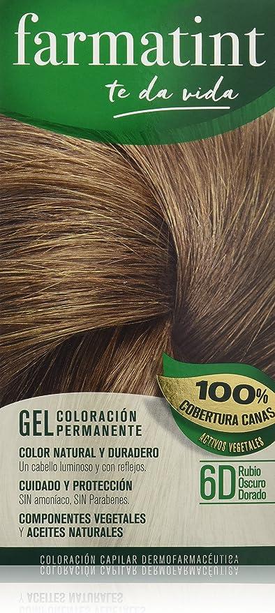 Farmatint 6D Rubio Oscuro Dorado. Tinte permanente. Cabello natural y color duradero. Sin amoníaco ni parabenes ni parafinas ni siliconas.