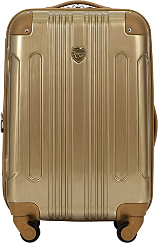 Travelers Club Polaris 20 Met Hardside Exp Carry-on Spin, Pale Gold-20, 20 Inch