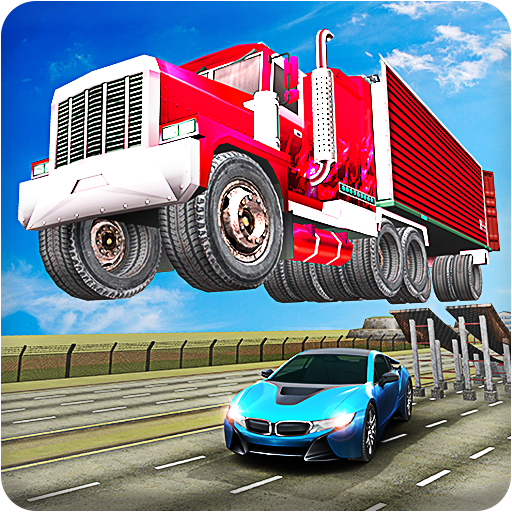 Mega Ramp Truck Trailer Open Doors Car Racing Stunt Game