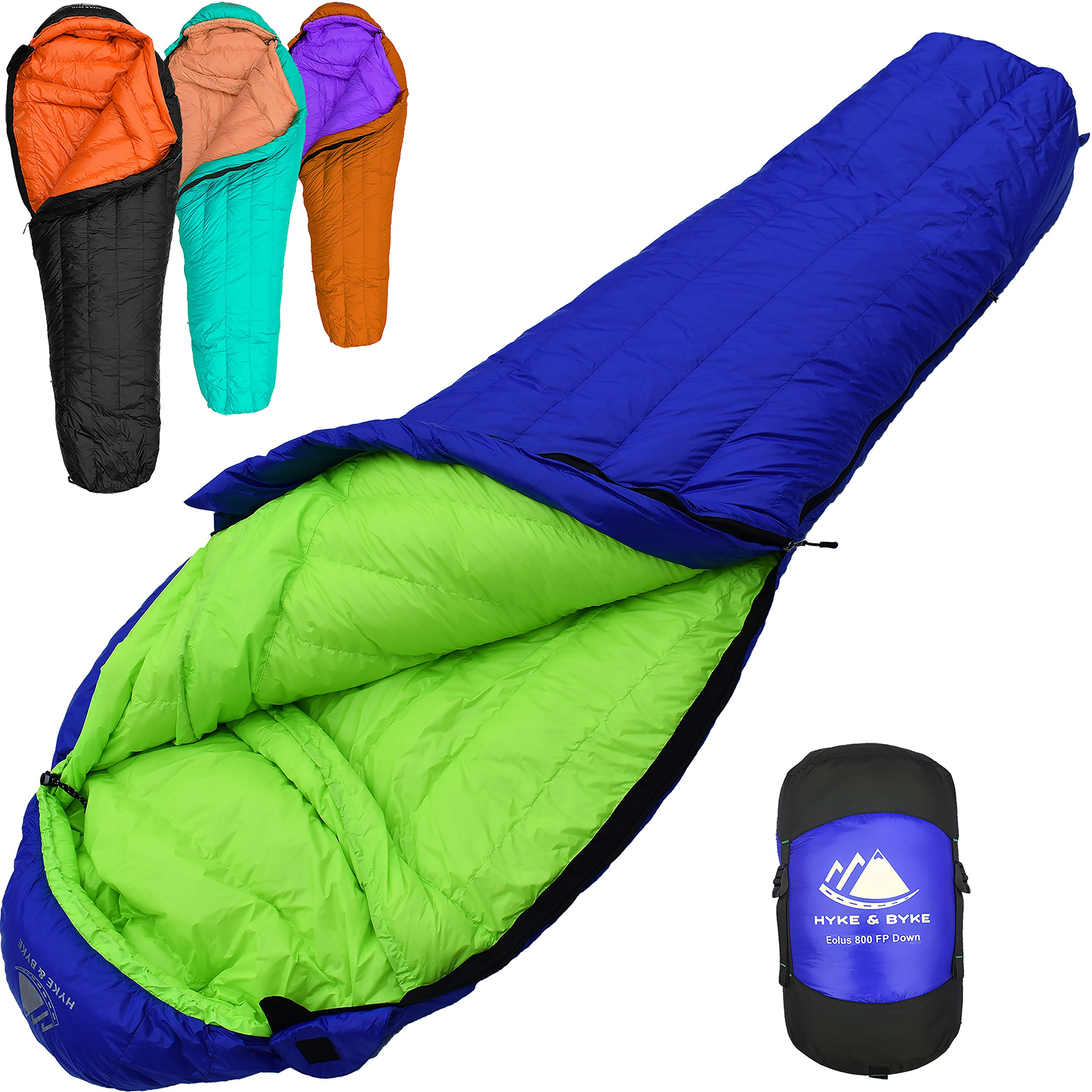 800 Fill Power Goose Down Sleeping Bag for Backpacking - Eolus 15/30 Degree F Ultralight, Down Filled 3 Season Men's and Women's Lightweight Mummy Bags (30 Degree - Blue/Lime Green, Regular) by Hyke & Byke