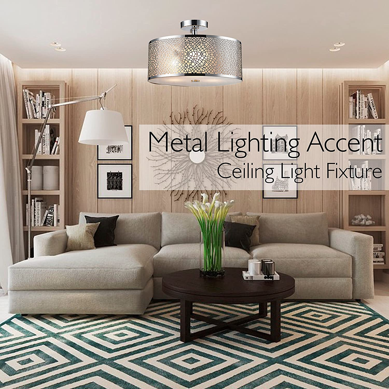 SereneLife Home Lighting Fixture   Semi Flush Mount Ceiling Accent Light  With Elegant Sculpted Metal Lamp Shade (SLLMP416)     Amazon.com