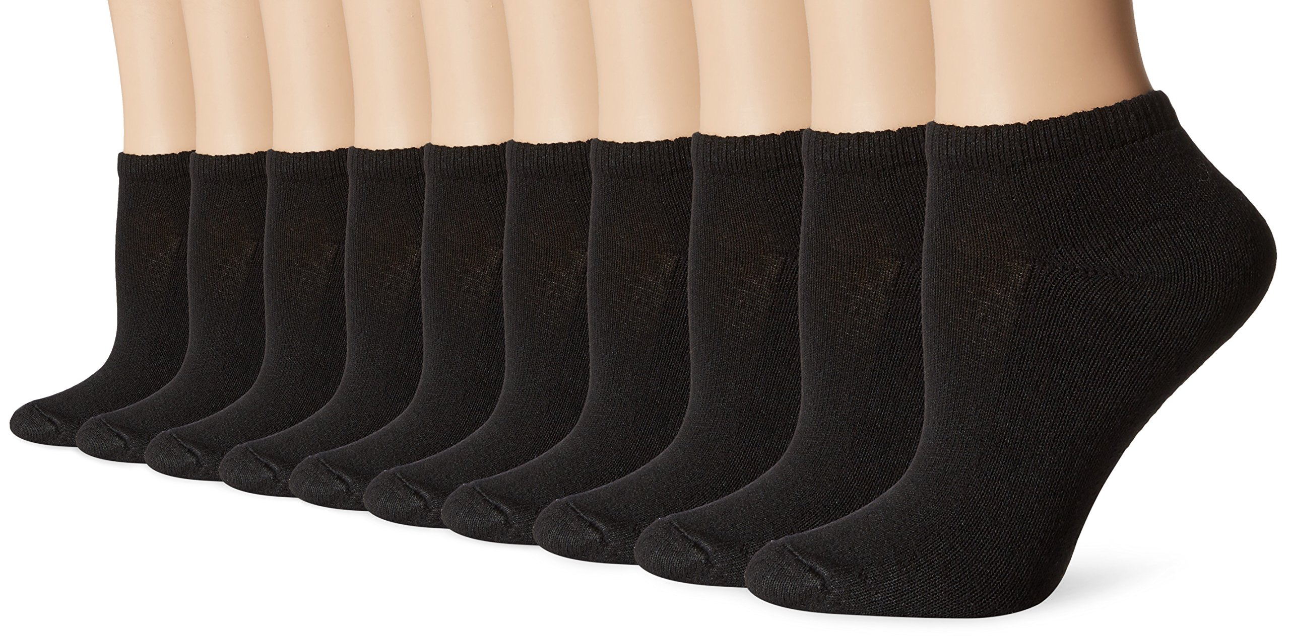Hanes Women's Low Cut Cushioned Athletic Sock, Black, Sock Size 9-11/Shoe Size 5-9 (Pack of 10)