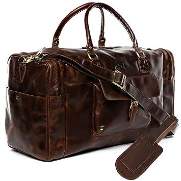 4aa89f08cc9ca SID   VAIN Reisetasche mit Adressanhänger Leder Yale groß Sporttasche  Herren Weekender echte Ledertasche Herrentasche braun