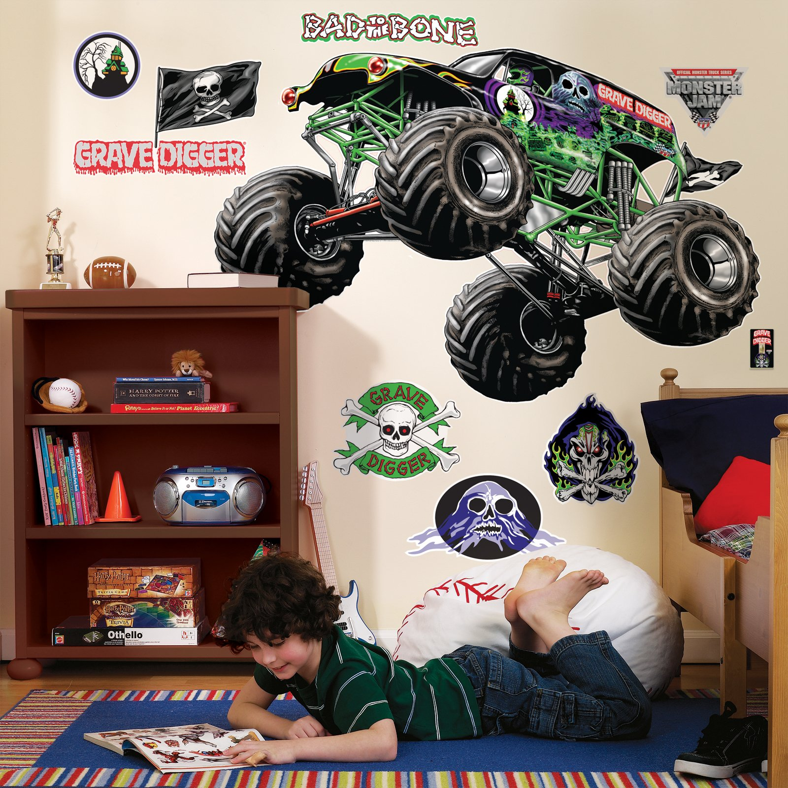 BirthdayExpress Monster Jam Room Decor - Grave Digger Giant Wall Decals by BirthdayExpress