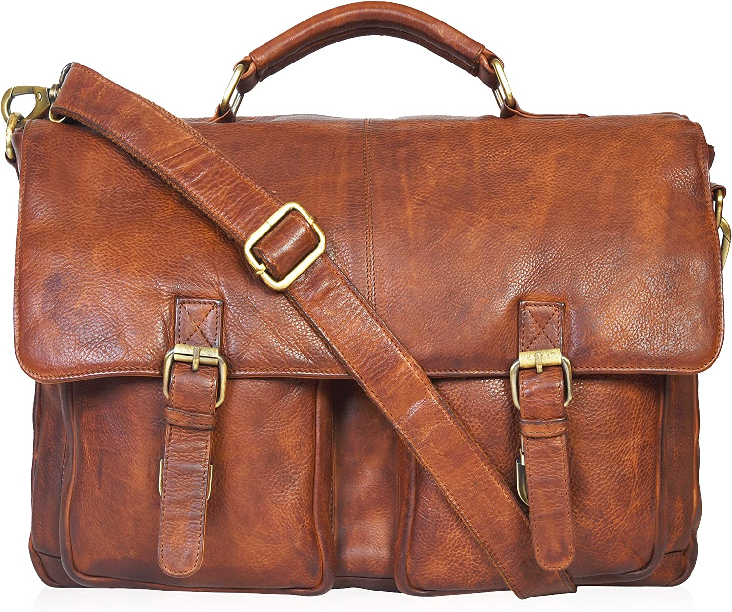 Leather Messenger Bag Locking Laptop Briefcase For Men Adjustable Satchel Handle