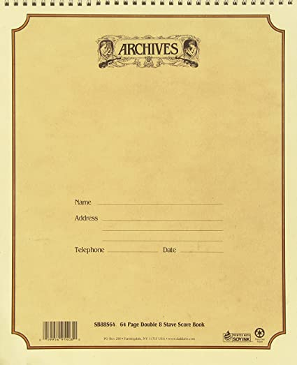 D Addario Archives 11 X 13 Inches Spiral Bound Manuscript Book Double 8 Stave 64 Pages Amazon Co Uk Musical Instruments