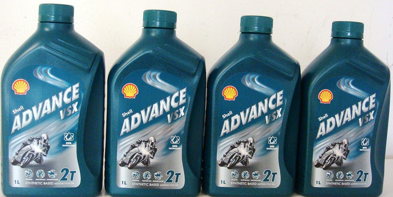 Shell Advance VSX 2T lubrificante semisintetico per Moto 4x1 Litri = 4 Litri (Euro/lt 7, 30)