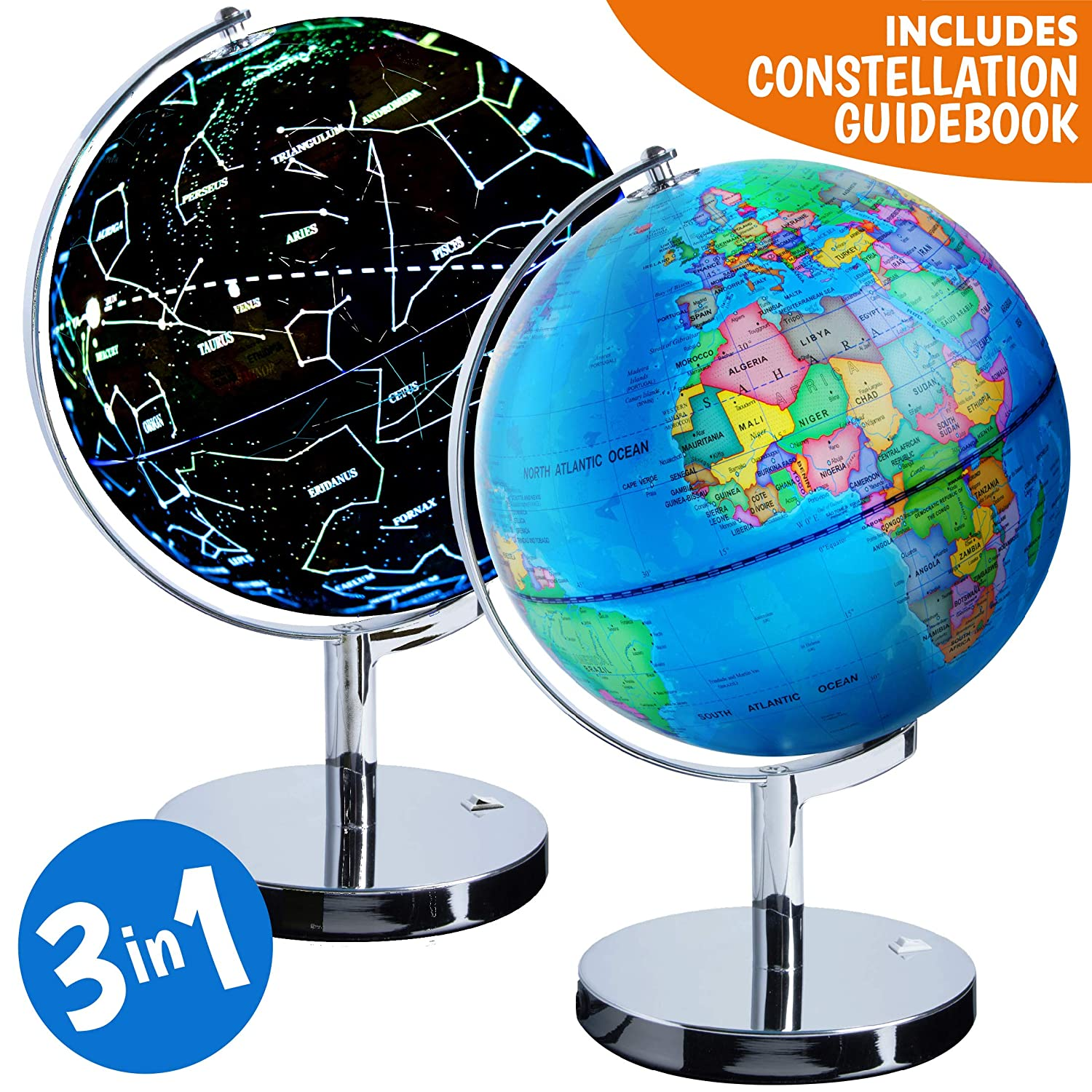 USA Toyz Illuminated Constellation World Globe for Kids - 3 in 1 Interactive Globe with Constellations, Light Up Smart Earth Globes of The World with Stand