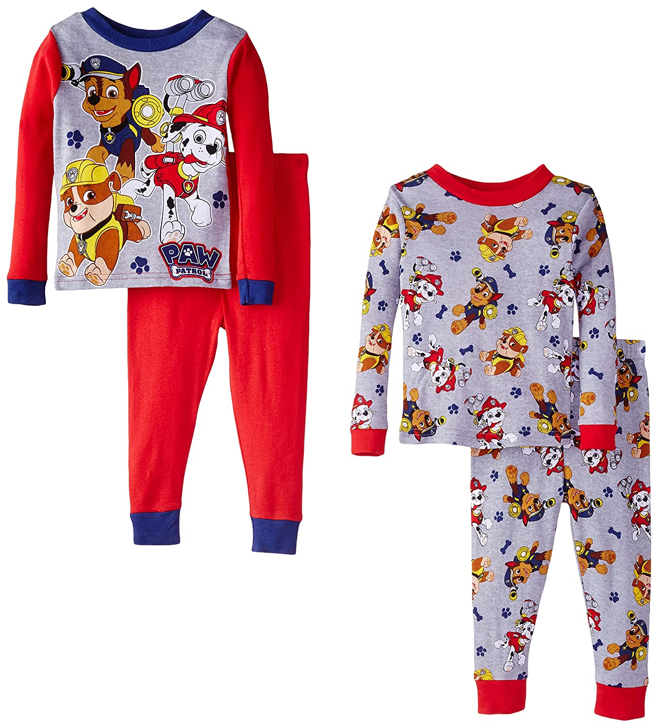 Paw Patrol Little Boys' Rescue Coming Four-Piece Pajama Set Red 2T AME Sleepwear Girls 2-6x