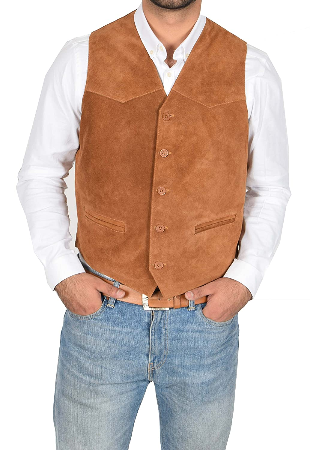 Real Suede Waistcoat for Mens Classic Style Soft TAN Suede Leather Vest Gilet - Cole Cole Tan