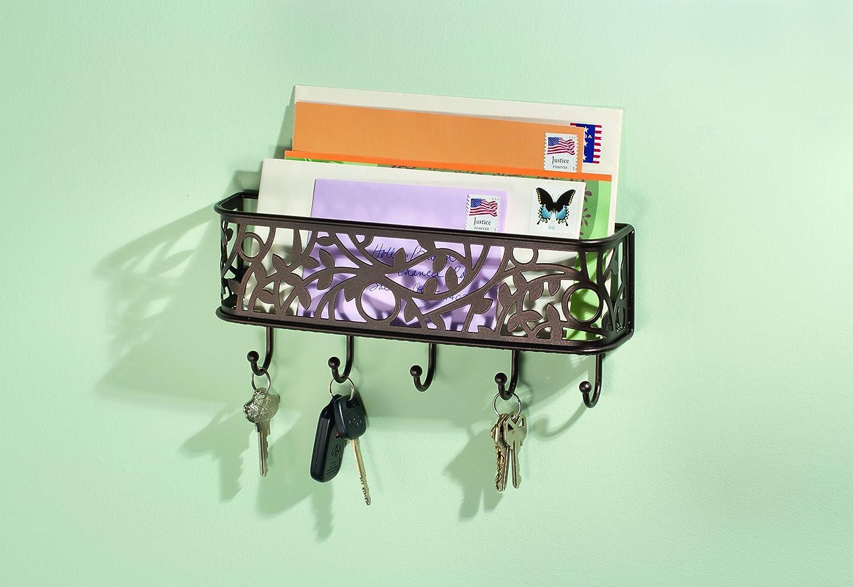 Portachiavi da parete iDesign Ganci portachiavi con ripiano per lettere Portalettere in metallo con 5 ganci ideale per sistemare la corrispondenza argento opaco