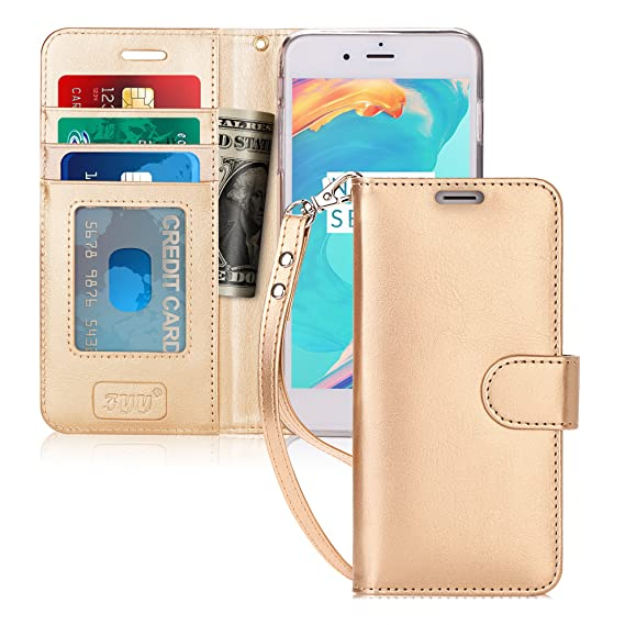 on sale b4c5c 869aa FYY Case for iPhone 8 Plus/iPhone 7 Plus,[Kickstand Feature] Luxury PU  Leather Wallet Case Flip Folio Cover with [Card Slots] [Wrist Strap] for  Apple ...