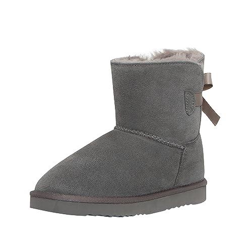 SKUTARI Playful Single Bow Boots, handgefertigte, italienische Lederstiefel für Damen mit gemütlichem Kunstfellfutter, Rutschfester und gepolsterter