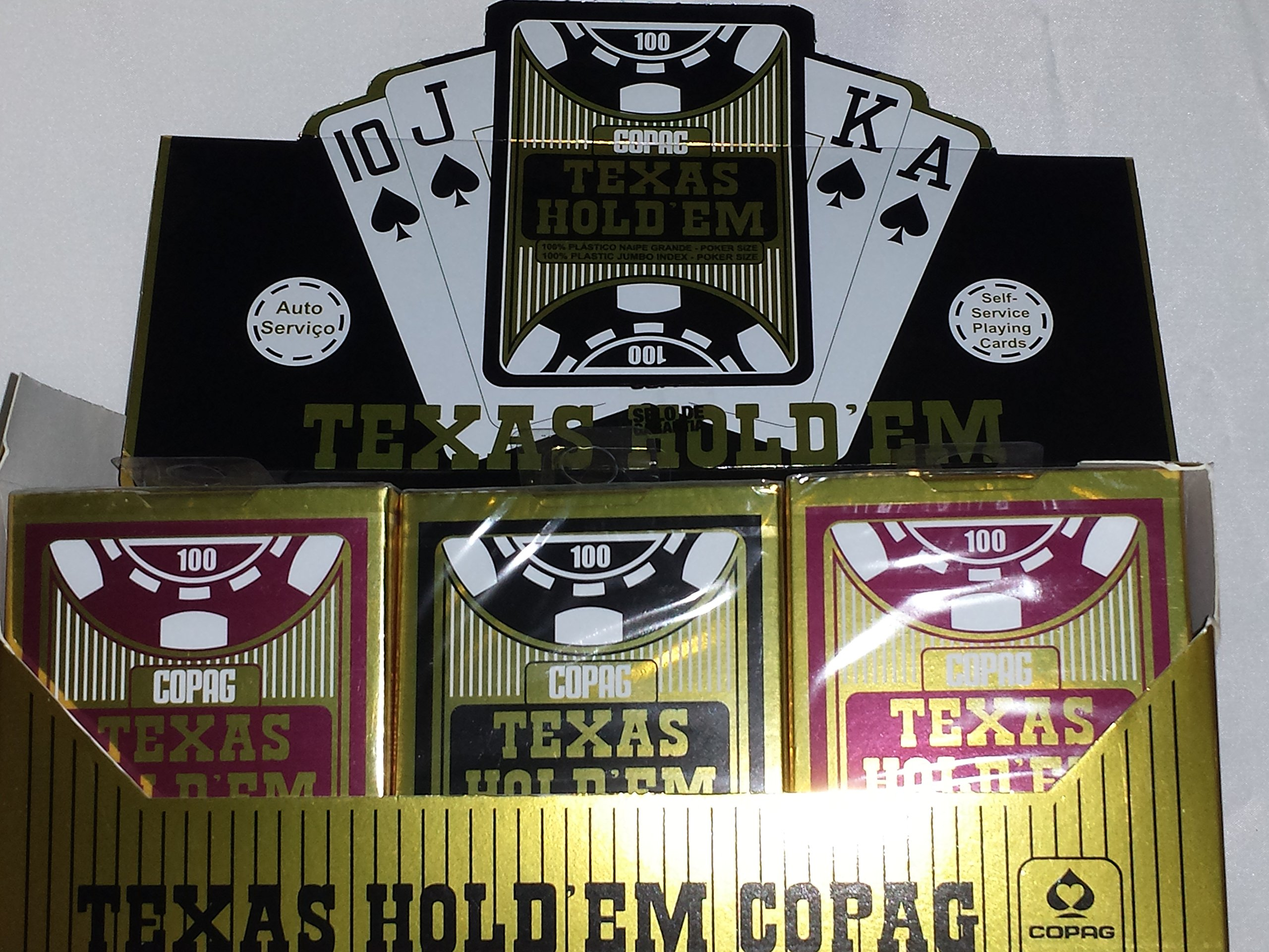 Copag 100% Plastic Playing Cards - Texas Hold 'Em Poker Size Jumbo Index Red/Black - 12 Decks