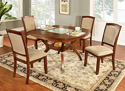 dining table with insert homelegance daisy furniture of america orialla 5piece dining table set with glass insert oak finish amazoncom