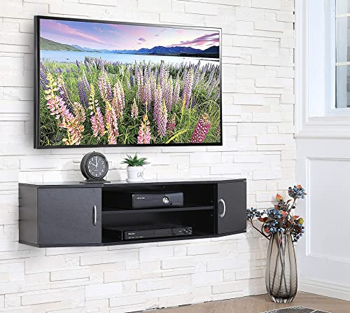 FITUEYES Wall Mounted TV Media Console Floating Desk Storage Hutch