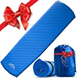 ❄ STOCKING STUFFER ❄ Premium Self Inflating Sleeping Pad w/ FREE Emergency Blanket - Lightweight, Insulated, Compact, Durable & Water Resistant. Comfortable for Camping, Backpacking or Hiking.