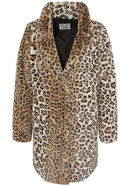 Stitch & Soul Abrigo Pelo sintético de Leopardo para Mujer | Abrigo de Invierno Suave con
