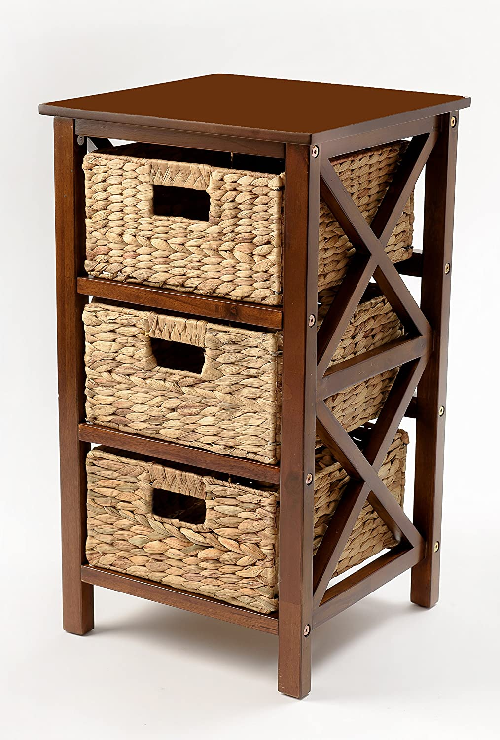 eHemco 3 Tier X-Side End Table/Storage Cabinet with 3 Baskets (Walnut)