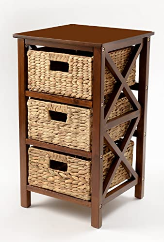 3 Tier X-Side End Table Storage Cabinet with 3 Baskets Walnut