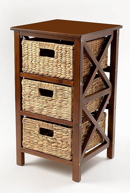 Amazon.com: eHemco - Mesa auxiliar de 3 niveles con 3 cestas ...