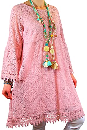 ea38d23676ee54 Charleselie94® - Robe Tunique Grande Taille Dentelle bohème Rose ...