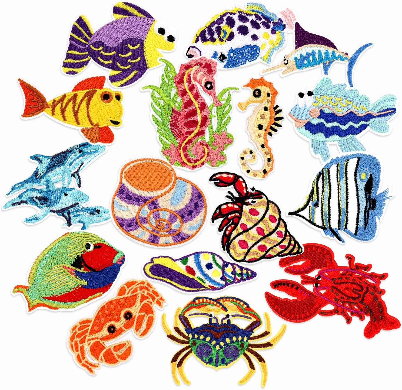 PHOGARY 16 piezas Parches de pescado para niños (planchados o ...