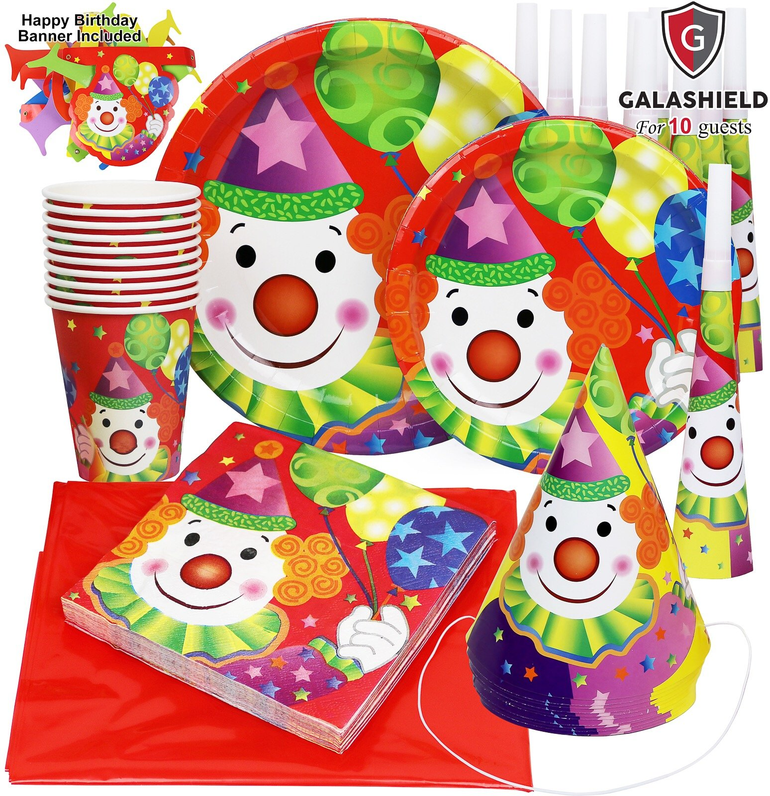 Galashield Birthday Party Plates Supplies Set for 10 includes Disposable Cups Napkins Birthday Hats Horns Tablecloth and Banner by Galashield