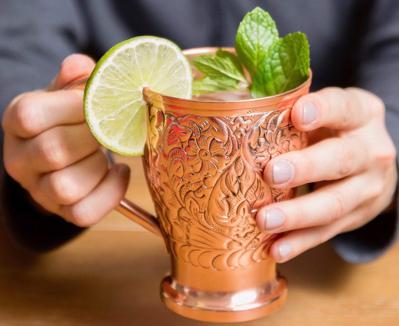 Moscow Mule Copper Mugs Set of 8 - Pure Copper Straws/Stir Sticks (8) - Kamojo Exclusive