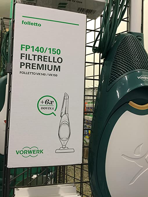 6 FILTRELLO PREMIUM VK FP140//150 VK 140-150 ORIGINALE VORWERK FOLLETTO REVIEL