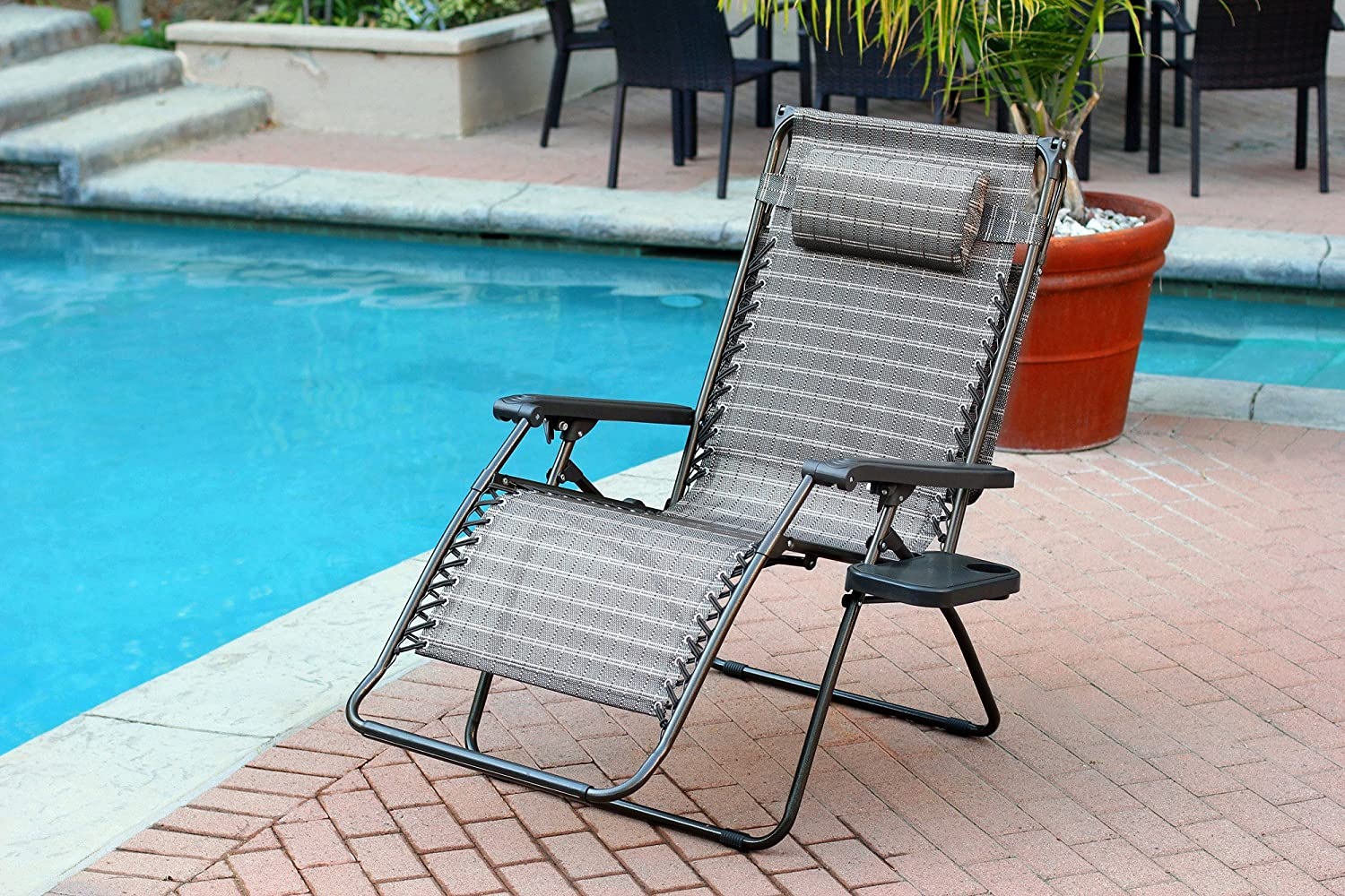 Set of 2 Oversized Zero Gravity Chair with Sunshade and Drink Tray – Black and Tan